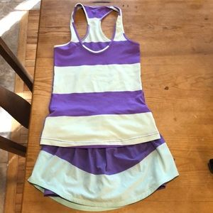 Lululemon tennis outfit. Lime green & purple.